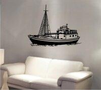 Fangschiff Wandtattoo, Walltattoo Fischdampfer Wandaufkleber