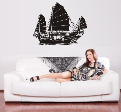segelschiff wandtattoo junk walltattoo schiff boot mo01. Black Bedroom Furniture Sets. Home Design Ideas