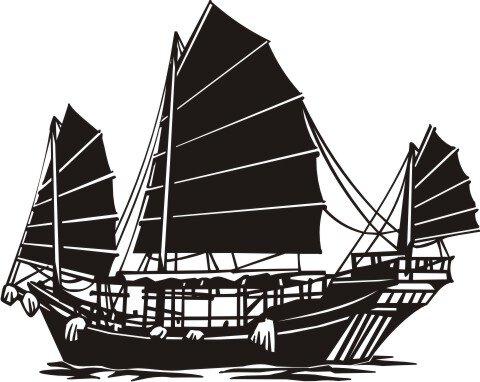 Segelschiff Wandtattoo, Junk Walltattoo, Schiff Boot MO01