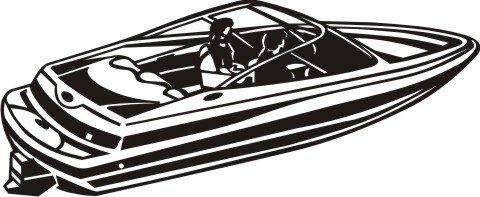 MO01 Rennboot Wandtattoo, Walltattoo Speedboat als Wandaufkleber