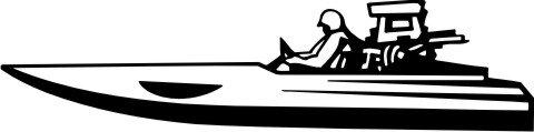 MO02 Rennboot Wandtattoo, Walltattoo Speedboat als Wandaufkleber