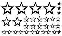 Sterne Wandtattoo, Wandaufkleber Set aus 32 Sternen MO01