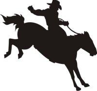 Reiter mit Pferd Aufkleber, Rodeo Western