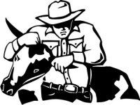 Bulldogging Aufkleber, Rodeo Western