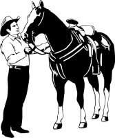 MO02 Pferd und Cowboy Wandtattoo Rodeo Western Wandaufkleber