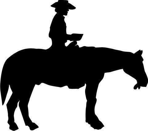 MO01 Pferd und Cowboy Wandtattoo Pferd und Reiter Wandaufkleber