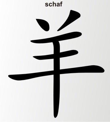 Schaf China Zeichen Aufkleber Chinazeichen Sticker