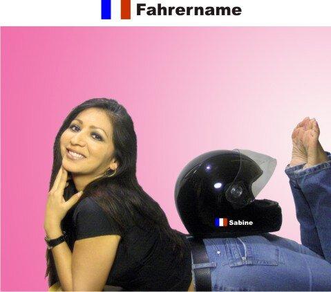Helm Aufkleber mit Frankreich Flagge und mit Ihrem Namen selbst gestalten