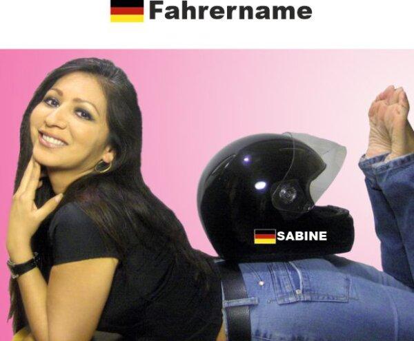 Helm Aufkleber mit Deutschland Flagge und mit Ihrem Namen selbst gestalten