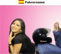 Helm Aufkleber mit Spanien Flagge mit Ihrem Namen selbst...