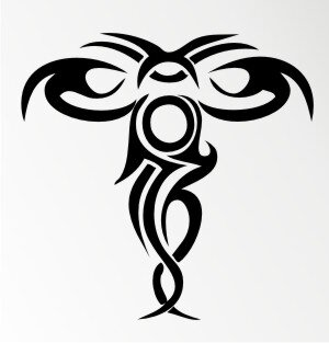Kreuz Tribal Aufkleber MO02
