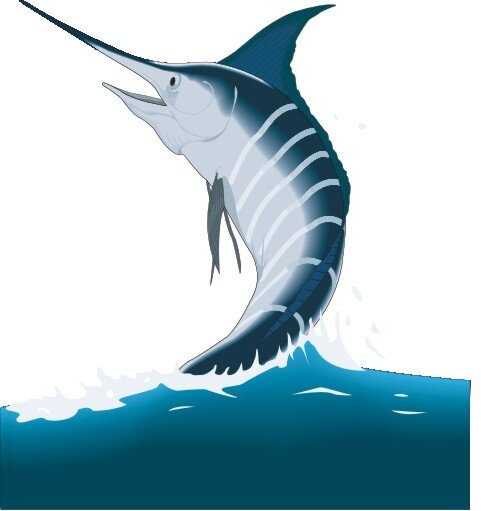 Blauer Marlin Aufkleber im Digitaldruck