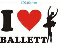 Ich liebe Ballett - I love ballett Aufkleber MO02