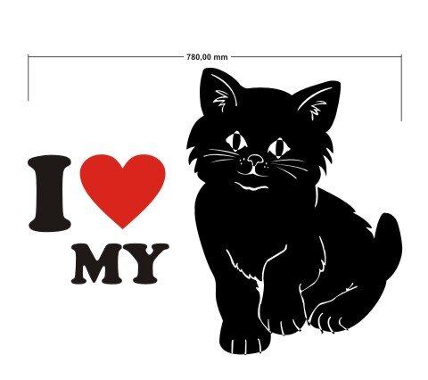Wandtattoo I Love My Cat - ich liebe meine Katze