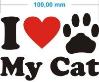 Ich liebe meine Katze - I Love My Cat Katzenpfoten Aufkleber