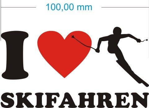 Ich liebe Skifahren - I Love Skifahren Aufkleber
