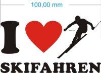 Ich liebe Skifahren - I Love Skifahren Aufkleber MO03