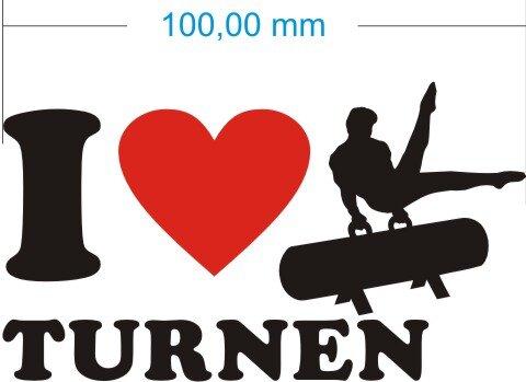 Ich liebe Turnen - I Love Turnen Aufkleber MO03
