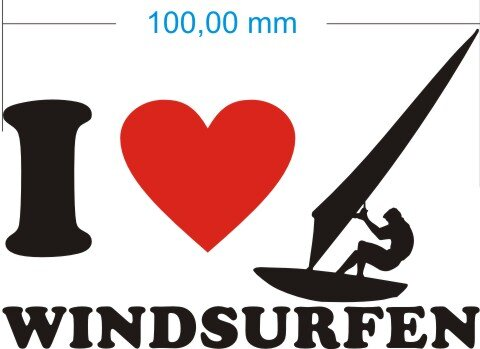 Ich liebe Windsurfen - I Love Windsurfen Aufkleber MO02