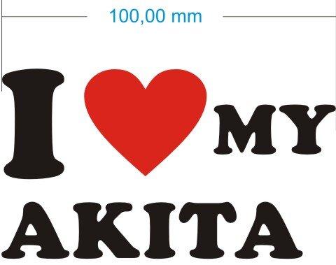 Ich liebe My Akita - I love my akita Aufkleber