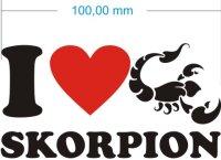 I Love Scorpio Aufkleber- Ich liebe Skorpion Sternzeichen