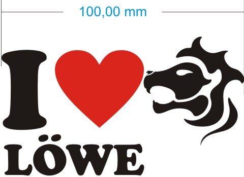 I Love Leo Aufkleber- Ich liebe Löwe Sternzeichen