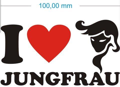 I Love Virgo Aufkleber- Ich liebe Jungfrau Sternzeichen