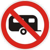 Aufkleber Wohnwagen Verboten rot/weiß