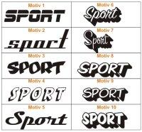 Aufkleber Schriftzug Sport - verschiedene Motive