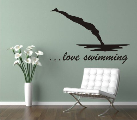 Wandtattoo ... love swimming Sport Wandaufkleber