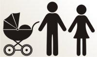 Mann, Frau und Kinderwagen Aufkleber-Piktogramm