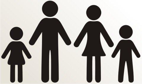 Vater, Mutter, Tochter und Sohn Aufkleber-Piktogramm