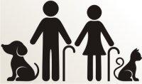Opa, Oma mit Hund und Katze Aufkleber-Piktogramm