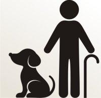 Opa mit Hund Aufkleber-Piktogramm