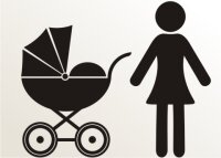 Frau mit Kinderwagen Aufkleber-Piktogramm