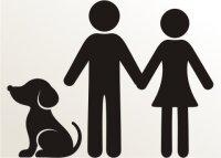 Mann, Frau und Hund Aufkleber-Piktogramm