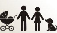 Mann, Frau, Kinderwagen und Hund Aufkleber-Piktogramm