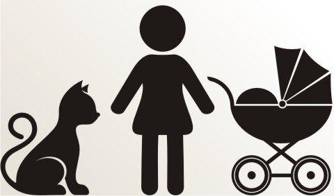 Frau, Kinderwagen und Katze Aufkleber-Piktogramm