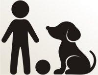 Junge mit Ball und Hund Aufkleber-Piktogramm