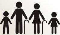Opa und Oma mit Enkelkinder Aufkleber-Piktogramm