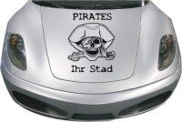 Aufkleber Totenkopf Pirates + Name Ihrer Stadt