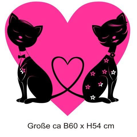 Katze Wandtattoo, Zweifarbig Wanddeko Katzen mit Herz