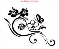 M001 Floral Aufkleber, Floralaufkleber, Blumenaufkleber