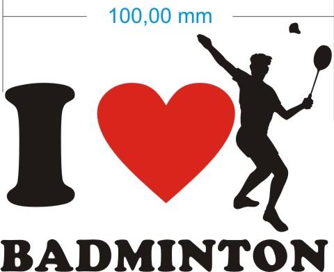 ich liebe badminton aufkleber