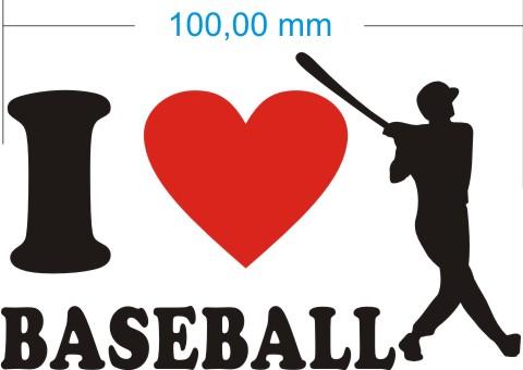 ich liebe baseball aufkleber