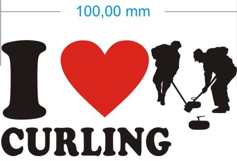 ich liebe curling aufkleber