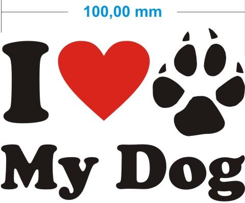 ich liebe mein hund aufkleber