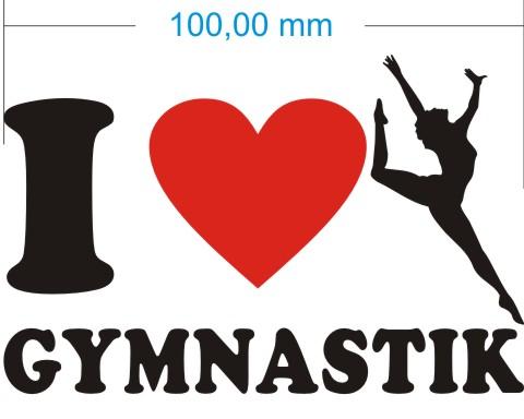 ich liebe gymnastik aufkleber