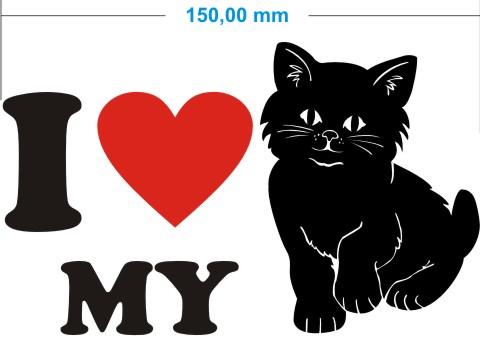 ich liebe katze aufkleber