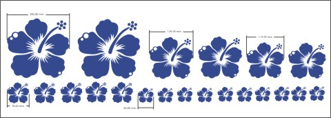 hibiskusblueten blumenaufkleber